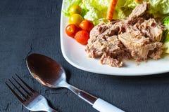 Sund tonfisk och gr?nsaker i en platta p? tabellen royaltyfri fotografi