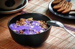 Sund torkad frukostsädesslag med yoghurt och - frukt royaltyfri foto