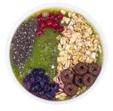 Sund vegetarisk Näring-frukt och Berry Smoothie With Oat Flakes och Chia Seeds arkivbild