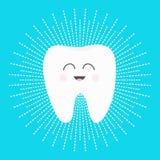Sund vit tandsymbol med att le framsidan Gulligt tecknad filmtecken Strecklinje rundacirkel Muntlig tand- hygien Barntänder ca stock illustrationer