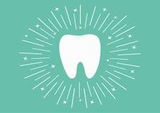 Sund vit tandsymbol Rund linje cirkel Muntlig tand- hygien Barntandomsorg Glänsande effektstjärnor Grön bakgrund fla royaltyfri illustrationer