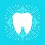 Sund vit tandsymbol Strecklinje rundacirkel Muntlig tand- hygien Barntandomsorg Glänsande effekt Göra vit blått ljust royaltyfri illustrationer