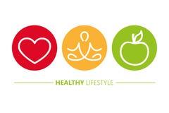 Sund yoga och äpple för livsstilsymbolshjärta stock illustrationer