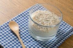 Sund yoghurt med havregryn i den Glass koppen arkivfoton