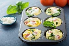 Sunda äggmuffin, mini- frittatas med tomater Arkivfoton
