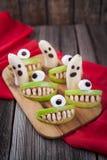 Sunda ätliga monster för läskig halloween mat Arkivbilder