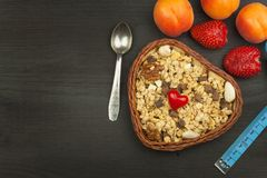 Sunda diet-tillägg för idrottsman nen Cheerios för frukostmysli och frukt Banta för viktförlust Mysli som ska ätas Arkivfoton