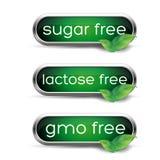 Sunda etiketter - socker, laktos och gmo frigör Royaltyfri Fotografi