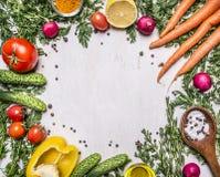 Sunda foods, matlagning och nya morötter för vegetarianbegrepp med körsbärsröda tomater, vitlök, citronrädisa, peppar, gurkor, sm Arkivbild