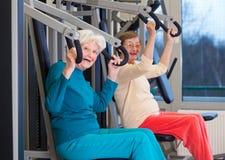 Sunda gamla kvinnor som övar på idrottshallen royaltyfri foto