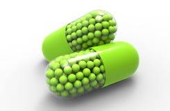 Sunda gröna medicinska kapslar med partiklar royaltyfri illustrationer