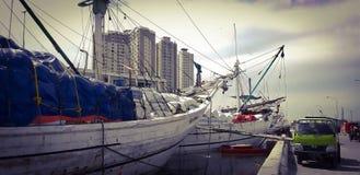 Sunda Kelapa port, norr Jakarta - Indonesien fotografering för bildbyråer