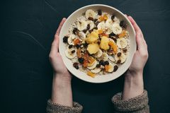 Sunda mål för frukosthavremjölhavregröt Royaltyfri Bild