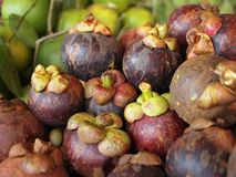 Sunda Mangosteenfrukter säljer i en lokal marknad, Mangosteenbakgrund arkivbild