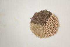 Sunda matingredienser: wholegrain ris, linser och kikärtar Sunt och allsidig kost Arkivbild