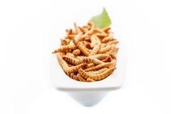 Sunda mealworms stänger sig upp med garnering Royaltyfri Fotografi