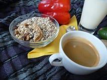 Sunda rich frukosterar med granola mjölkar och kaffe Arkivbilder