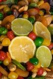 Sunda torkade frukter blandar med citronen och limefrukt arkivfoton