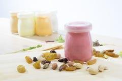 Sunda yoghurtflaskor med frukter och muttrar Arkivfoto
