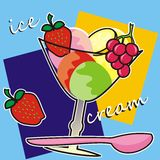 Sundae. Advertising on fruit cup. Glass with fruit and ice cream Stock Images
