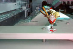 Sundae ice cream cup. In a  ice cream shop Royalty Free Stock Photography