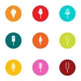Sundae icons set, flat style. Sundae icons set. Flat set of 9 sundae vector icons for web isolated on white background Royalty Free Stock Photography