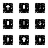 Sundae icons set, grunge style Royalty Free Stock Photography