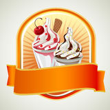Sundae label. Two cups of sundae with strawberry flavour and chocolate flavour vector illustration