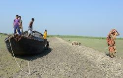 Sundarban被淤积的河  免版税库存照片