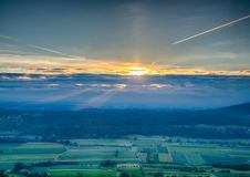 Sundawn over the franconian suisse in Bavaria in south Germany Royalty Free Stock Images