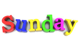 Sunday. Day of the week multicolored over white Background Stock Image