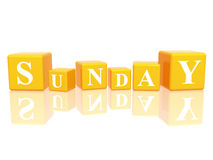 Sunday in 3d cubes Royalty Free Stock Photos
