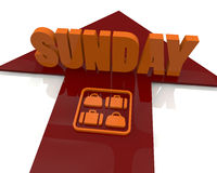 Sunday 3d text Stock Photo