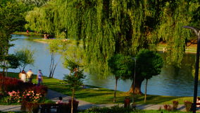 Sunday Afternoon In The Park, Bucharest, Romania, Pan stock video