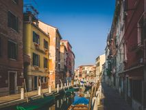 Sunday afternoon in romantic streets of Venice. Retro style royalty free stock photos