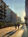 Sunday afternoon walk in city center in a sunny day. Oradea city center stock image