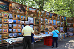 Sunday art exhibition, Bayswater Road, London Royalty Free Stock Image