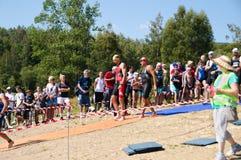 Vlasina Lake, Serbia - august,5.2018:Start of the swimming race on Vlasina triathlon. On Sunday, August 5, the 4th Triathlon Self-Recovery Triathlon was held royalty free stock photo
