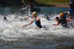 Vlasina Lake, Serbia - august,5.2018:Start of the swimming race on Vlasina triathlon. On Sunday, August 5, the 4th Triathlon Self-Recovery Triathlon was held royalty free stock images