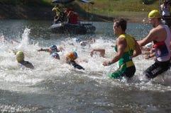 Vlasina Lake, Serbia - august,5.2018:Start of the swimming race on Vlasina triathlon. On Sunday, August 5, the 4th Triathlon Self-Recovery Triathlon was held stock photo