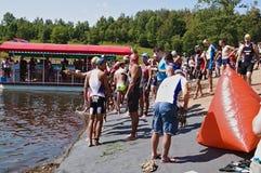 Vlasina Lake, Serbia - august,5.2018:Start of the swimming race on Vlasina triathlon. On Sunday, August 5, the 4th Triathlon Self-Recovery Triathlon was held stock images