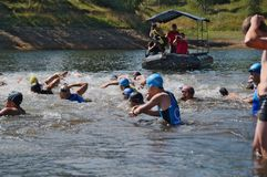 Vlasina Lake, Serbia - august,5.2018: Start of the swimming race on Vlasina triathlon. On Sunday, August 5, the 4th Triathlon Self-Recovery Triathlon was held royalty free stock images