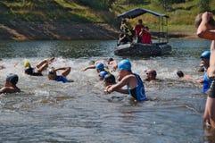 Vlasina Lake, Serbia - august,5.2018: Start of the swimming race on Vlasina triathlon royalty free stock images
