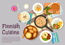 Sunday breakfast dishes of finnish cuisine icon Royalty Free Stock Photos