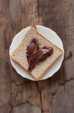 Sunday breakfast. Toast and peanut butter. Stock Image
