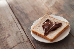 Sunday breakfast. Toast and peanut butter. Royalty Free Stock Photo