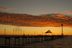 Sunday at Brighton. Sunset at Brighton Jetty, Adelaide, South Australia stock photo