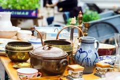 Sunday brocante in small alsacien village stock photos
