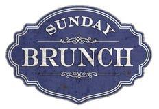 Free Sunday Brunch Sign Plaque Plate Vintage Enamel Stock Photos - 164760183