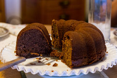 Sunday chocolate bundt cake with the family. To celebrate a birthday Royalty Free Stock Photography
